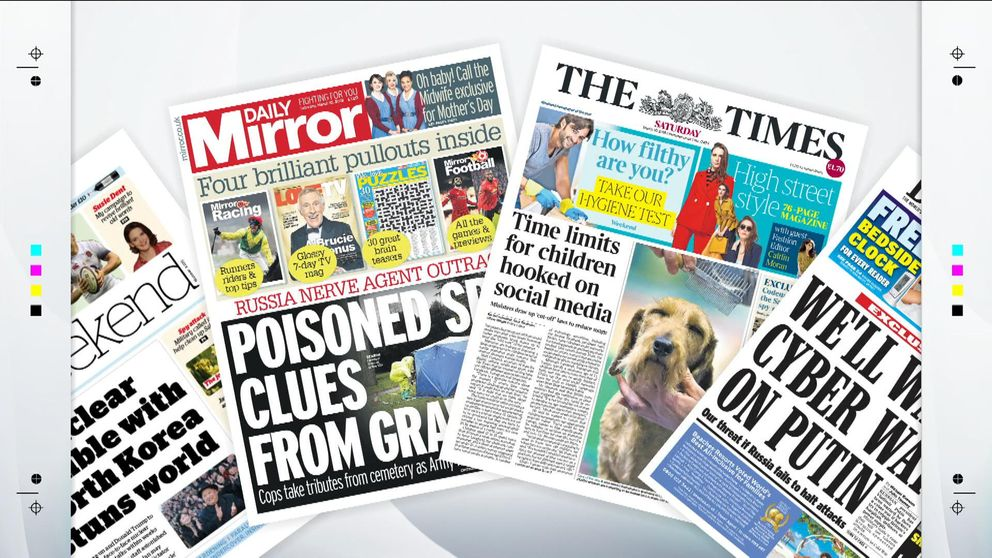 SaturdayS National Newspaper Front Pages