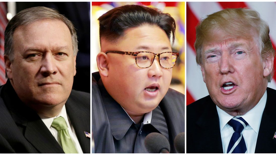CIA Director Mike Pompeo (L), North Korean leader Kim Jong Un (C) and US President Donald Trump (R)