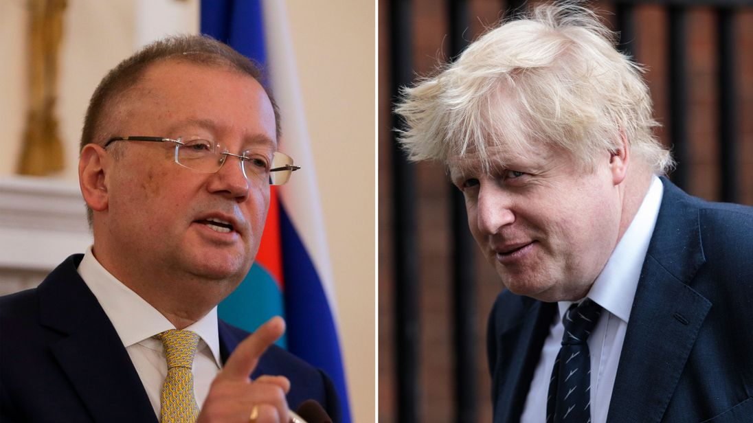 Russia ambassador to the UK Alexander Yakovenko and Boris Johnson