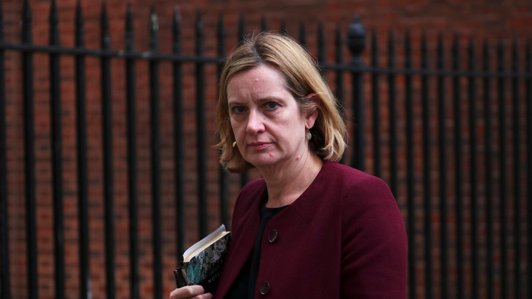 Britain's Home Secretary Amber Rudd leaves 10 Downing Street in London, April 10, 2018