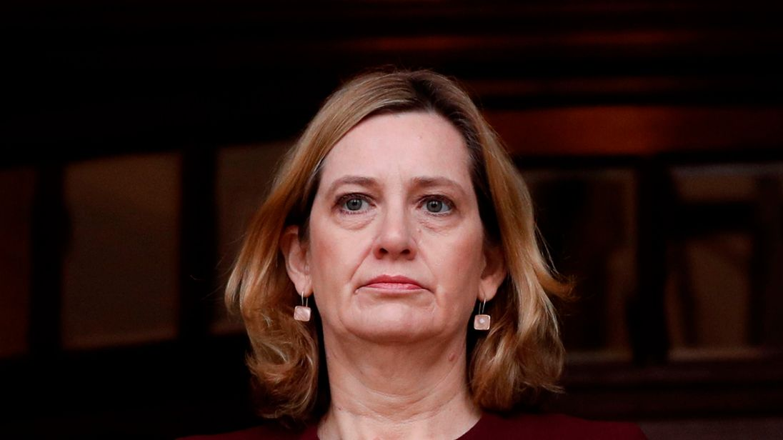 Britain's Home Secretary Amber Rudd leaves City Hall in Salisbury, southern England, on March 9, 2018