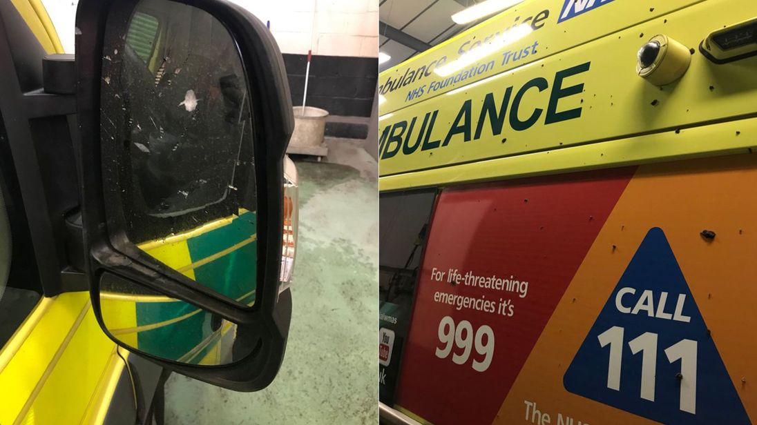A West Midlands Ambulance was vandalised, resulting in a broken wing mirror and mud on the vehicle. Credit: West Midlands Ambulance Service