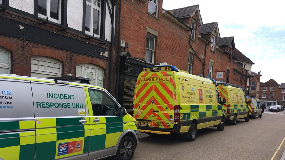 Emergency services at the constituency office of Caroline Nokes MP