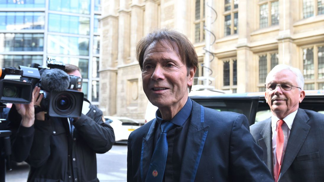 Sir Cliff Richard arriving at the High Court on Wednesday