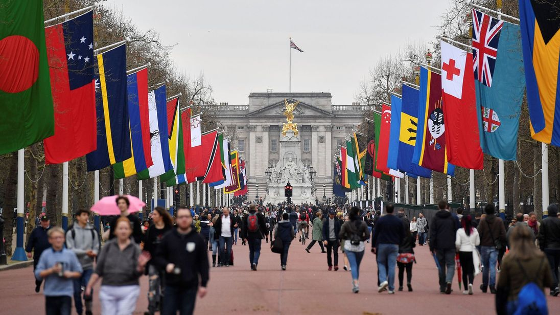 The Mall has been decked out with the flags of Commonwealth nations