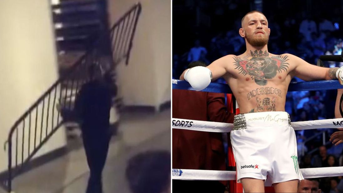 Conor McGregor appeared to throw a railing at a bus in New York