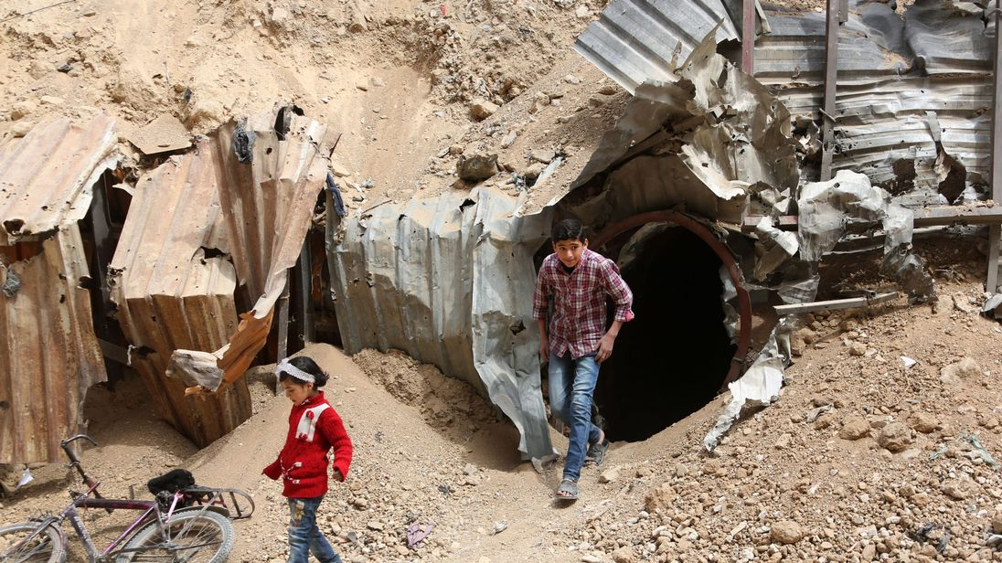 Tunnels used by rebel fighters in Douma before the Syrian regime launched a two-month offensive in the area