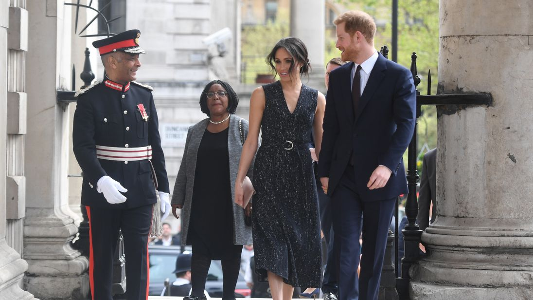 Prince Harry and his fiancee Meghan Markle arrive at a service at St Martin-in-The Fields to mark 25 years since Stephen Lawrence was killed in a racially motivated attack