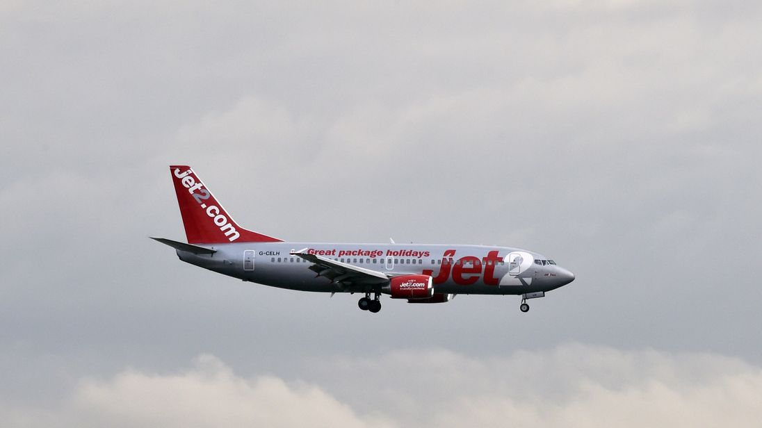 A Jet2 aircraft lands at the Toulouse-Blagnac airport on September 29, 2014.