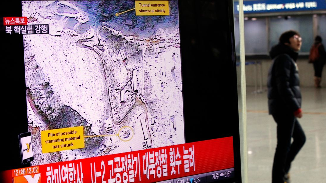 A satellite image of what is believed to be North Korea's nuclear test sight