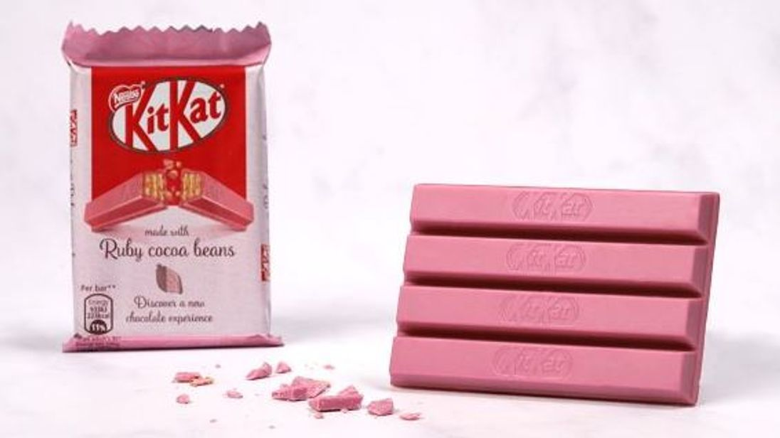 The naturally pink KitKats will be available in the UK from 16 April