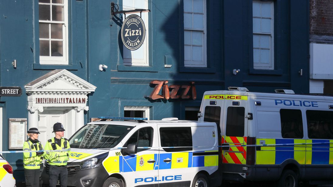 Police outside the Zizzi restaurant in Salisbury