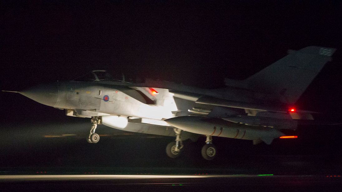 An RAF Tornado comes into land at RAF Akrotiri after concluding its mission