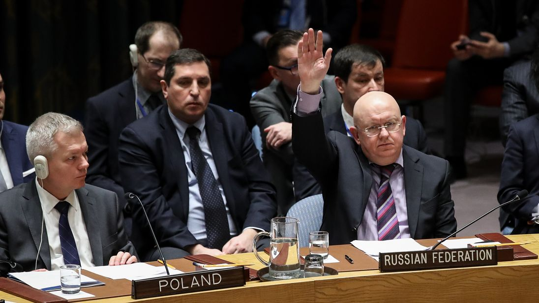 Russian Ambassador to the United Nations Vasily Nebenzya votes to veto a U.S. draft resolution to create a new inquiry to find blame for the chemical weapons attack last week in Douma