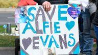 Alfie Evans protesters demonstrate outside Alder Hey Children's Hospital in Merseyside