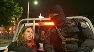 Cordelia Lynch on patrol with police in El Salvador