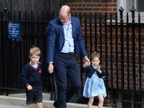 Charlotte waved as she arrived to meet her baby brother