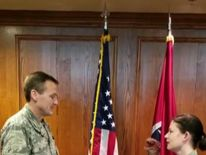 A member of the Tennessee National Guard was removed from her position after a video emerged of her using a dinosaur hand puppet to take an oath to re-enlist, a military official said on April 18.