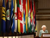 Britain's Queen Elizabeth II speaks at the formal opening of the Commonwealth Heads of Government Meeting (CHOGM) at Buckingham Palace in London on April 19, 2018. - Queen Elizabeth II, the Head of the Commonwealth opened the Commonwealth summit for what may be the last time today. (Photo by Yui Mok / POOL / AFP) (Photo credit should read YUI MOK/AFP/Getty Images)