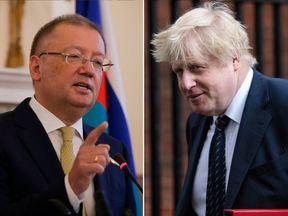 Russia ambassador to the UK Alexander Yakovenko and Boris Johnson