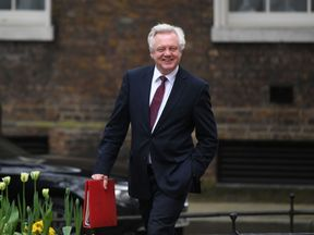 Brexit Secretary David Davis arrives in Downing Street for a Cabinet meeting