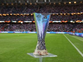 The UEFA Europa League trophy is displayed on the pitch prior to the UEFA Europa League final football match Ajax Amsterdam v Manchester United on May 24, 2017 at the Friends Arena in Solna outside Stockholm. / AFP PHOTO / SOREN ANDERSSON (Photo credit should read SOREN ANDERSSON/AFP/Getty Images)