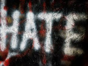 File photo dated 21/03/17 of a general view of graffiti on a wall in Bristol. Police have recorded a rise in hate crimes against children, according to new figures