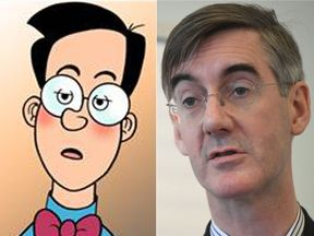 Jacob Rees Mogg (R) and Walter The Softie