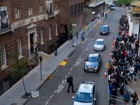 The world's media assemble outside St Mary's hospital. Pic. Kensington Palace