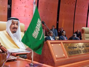 Saudi Arabia's King Salman bin Abdulaziz Al Saud attends during the opening of 29th Arab Summit in Dhahran, Saudi Arabia April 15, 2018. Bandar Algaloud/Courtesy of Saudi Royal Court