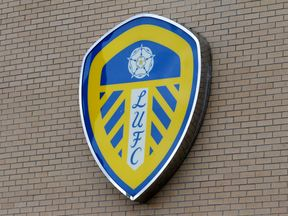 A view of the Leeds United club emblem outside Elland Road before the game