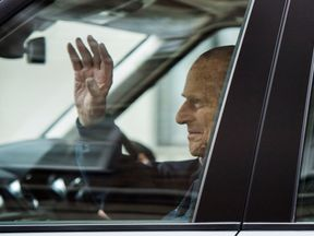 The Duke of Edinburgh leaving the King Edward VII's Hospital in London