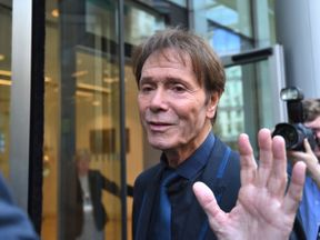 Sir Cliff arriving in court on Wednesday