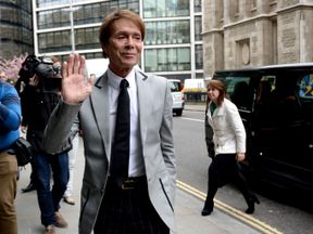 Sir Cliff Richard arrives at the Rolls Building in London for the continuing legal action against the BBC