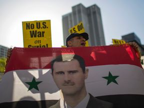 Supporters of Syrian president Bashar al Assad protest in Los Angeles
