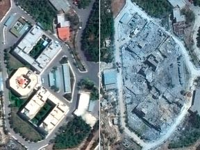 The Barzah Research and Development Centre, near Damascus, pictured before and after the coalition missile attack