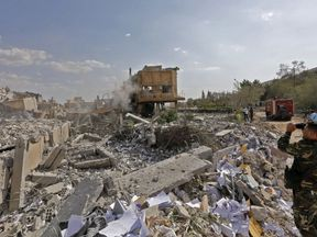 The wreckage of a research centre in Syria after Western airstrikes in April