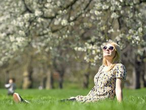 St James's Park recorded the highest temperatures yesterday, with this woman enjoying the sunshine
