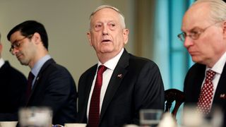 U.S. Secretary of Defense James Mattis speaks during a meeting with Qatari Emir Sheikh Tamim Bin Hamad Al-Thani at the Pentagon in Washington, U.S., April 9, 2018. REUTERS/Joshua Roberts