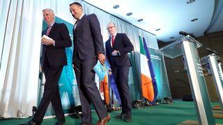 Michel Barnier (left), held a press conference with Taoiseach Leo Varadkar (centre) and deputy Simon Coveney