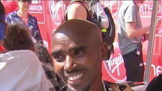 Sir Mo Farah finishes the London Marathon