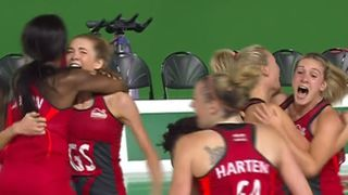 England celebrate their victory. Pic: BBC