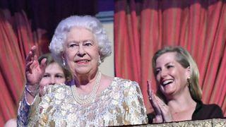 Queen Elizabeth II takes her seat