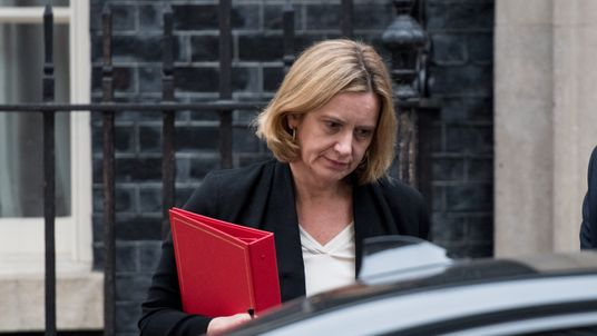 LONDON, ENGLAND - APRIL 12: Britain's Home Secretary Amber Rudd leaves after an emergency cabinet meeting at Downing Street on April 12, 2018 in London, England. British Prime Minister Theresa May has called an emergency cabinet meeting amid speculation she will back US action against Syria. (Photo by Chris J Ratcliffe/Getty Images)
