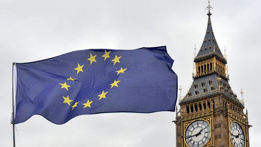 EU flag flies in front of the Houses of Parliament