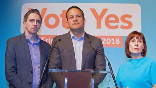Minister for Health Simon Harris, Taoiseach Leo Varadkar and Fine Gael Campaign Co-ordinator Minister Josepha Madigan during an event organised by members of Fine Gael pressing for a yes vote in the upcoming referendum on the Eighth Amendment, at the Smock Alley Theatre in Dublin. PRESS ASSOCIATION Photo. Picture date: Saturday April 21, 2018. See PA story IRISH Abortion. Photo credit should read: Tom Honan/PA Wire