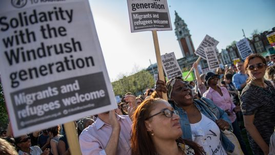 A protest in support of the Windrush generation in Windrush Square, Brixton