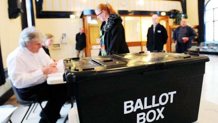 UK polling station and ballot box