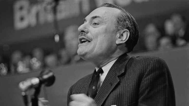 Enoch Powell speaking at the Conservative Party Conference in 1969
