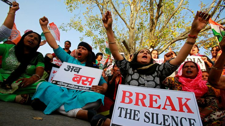Supporters of India's main opposition Congress party shout slogans during a protest against the rape of an eight-year-old girl in Kathua near Jammu, and a teenager in Unnao, Uttar Pradesh state, in Chandigarh, India, April 17, 2018